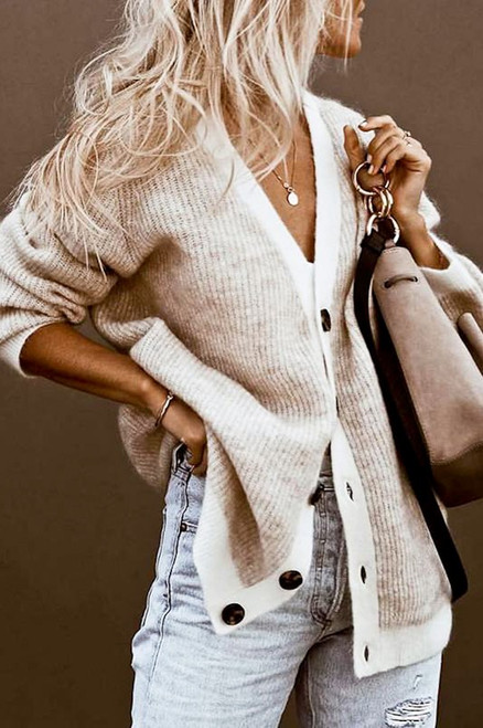 Button down v-neck knitted comfy fit sweater cardigan