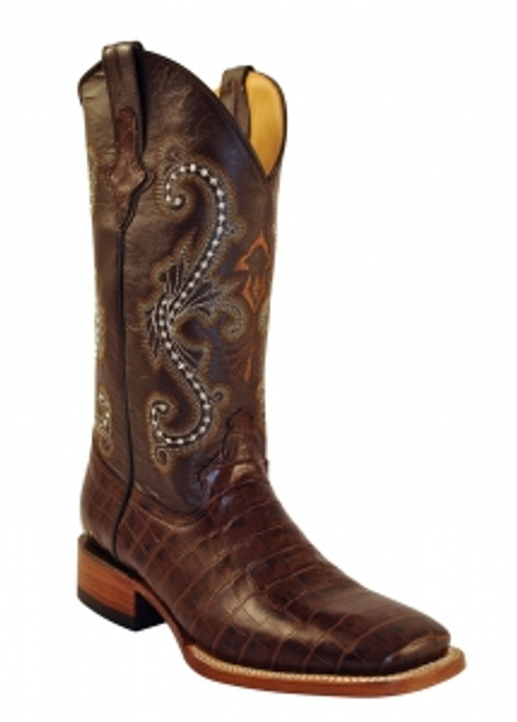 "A great dress boot.  This gator belly print is a top seller.  S-Toe, 13"" full leather upper, leather sole,"