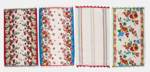 """Berries everywhere with a stripe thrown in the mix!  Trimmed top and Bottom with sweet crochet edging, set of 4, 100% Cotton, 17""""X28"""""""