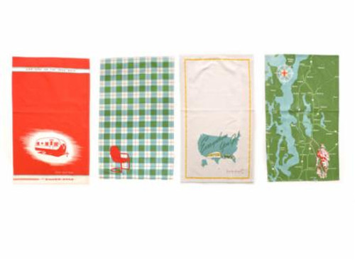 """Camping inspired 1940's road trip.  Set of 4 printed towels. 100% cotton. 17""""X28"""". packaged in a fabric pouch"""