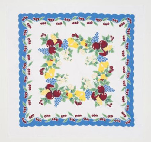 """Vintage Cherry Tablecloth, Retro, 52""""X52"""", 100% Cotton, packaged in a fabric pouch"""