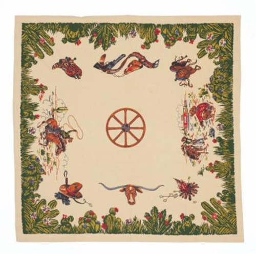 """Home on the Range Vintage table cloth. 52"""" X 52"""". 100% Cotton  packaged in a fabric pouch."""