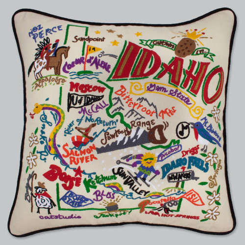 20x20 Hand embroidered pillow, Retro, Idaho
