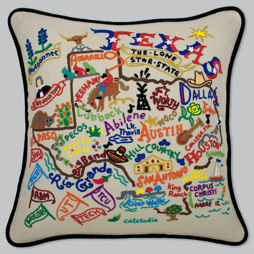 "20""X20"" Hand Embroidered Retro Pillow"