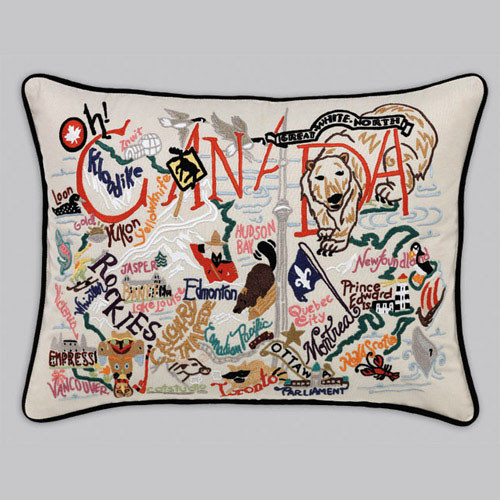 18x24 Hand embroidered retro pillow