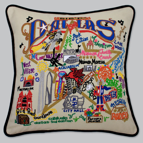 20x20 Hand Embroidered Retro Pillow Dallas