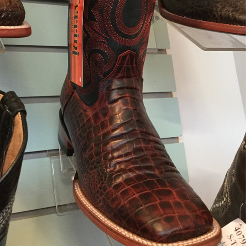 Ferrini Print Belly Caiman Black Cherry - Men's Cowboy Boot