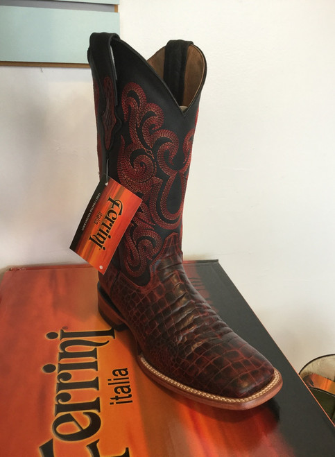 Ferrini Print Belly Caiman Black Cherry Men's Cowboy Boot