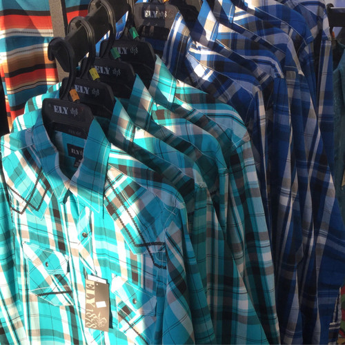 Men's Western Shirt with Black Decorative Stitching - Teal or Royal Blue