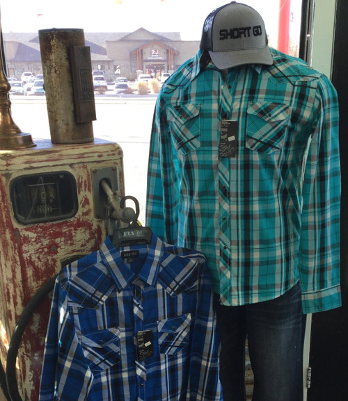 Men's Teal and Blue Western Shirt