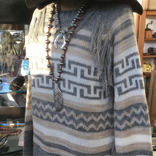 Grey & Cream Aztec Fringe Sweater