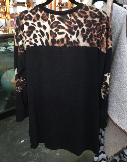 Sequin Leopard Deer Patch Shirt - Plus Size