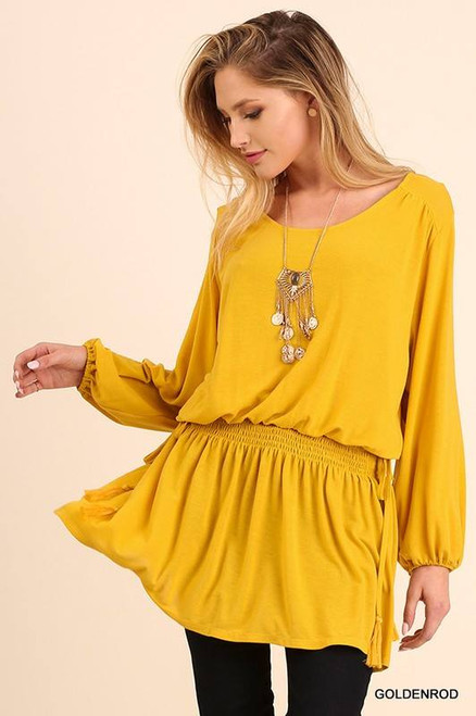 Relaxed fit long sleeve tunic with cinched waist detail in Goldenrod