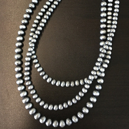 3 Strand Pewter Pearl Necklace & Earring Set