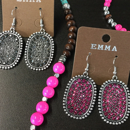 Sparkly Oval Earrings - Pink / Charcoal