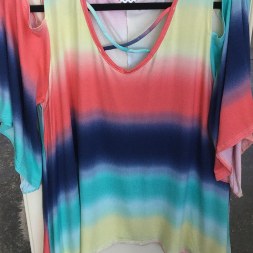 Multi color ombré Print cold Shoulder Tunic