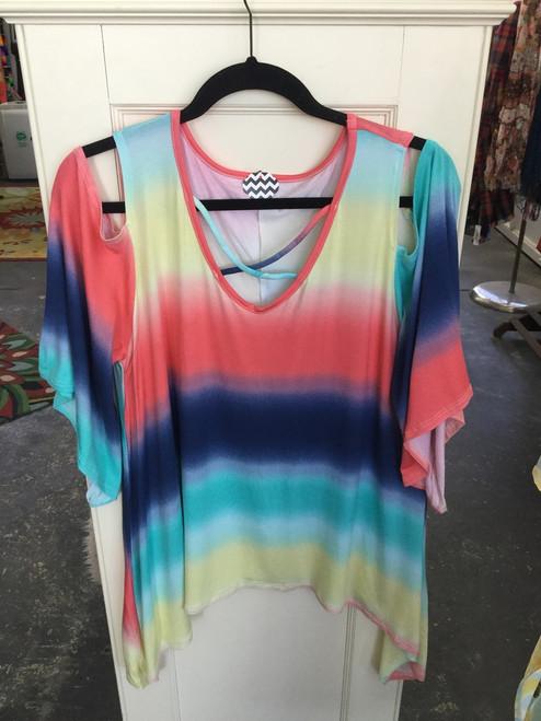 Multi color ombré Print cold Shoulder Tunic
