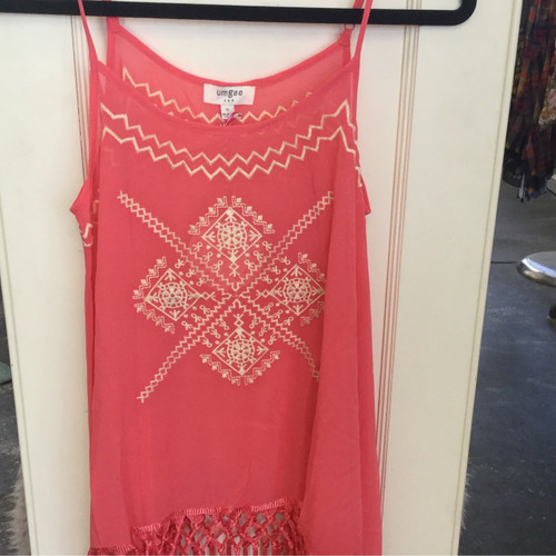 Coral embroidered sleeveless Top with fringe