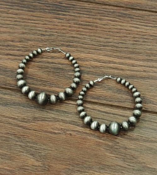 Big Western Pearl Graduated Hoop Earrings Silver