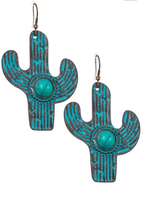 Cactus Etched Dangle Earring