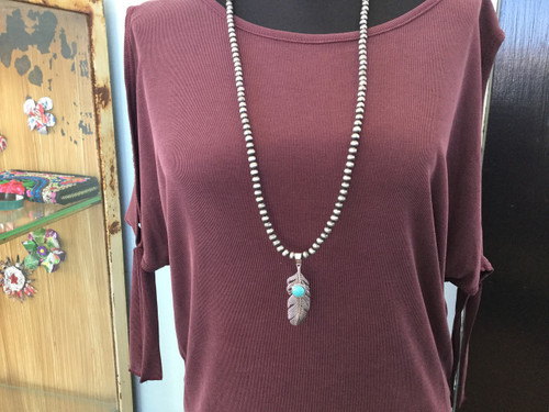 Pewter Pearl Necklace with Feather Pendant