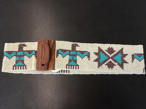 Beaded Thunderbird Belt in cream/brown/turquoise