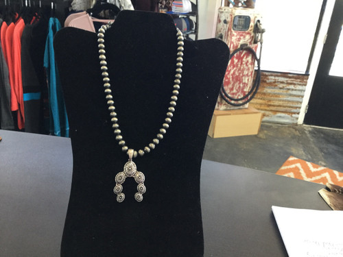 Pewter Pearl Necklace with Concho Pendant