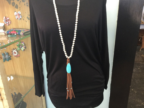 Pearl Necklace with Turquoise Pendant with Fringe