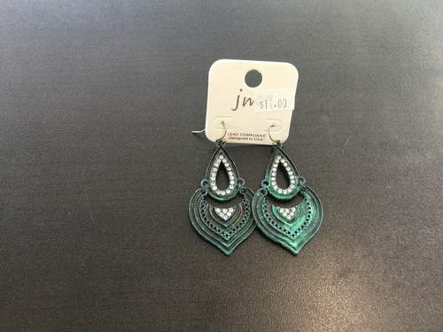 Distressed teal drop earrings