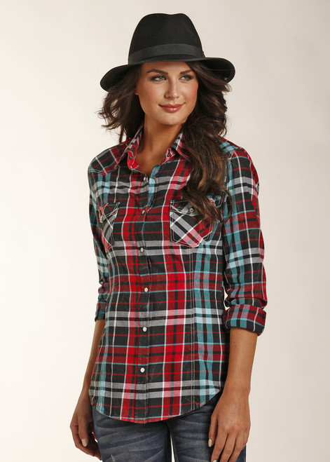 Rock and Roll Cowgirl Plaid Button Up