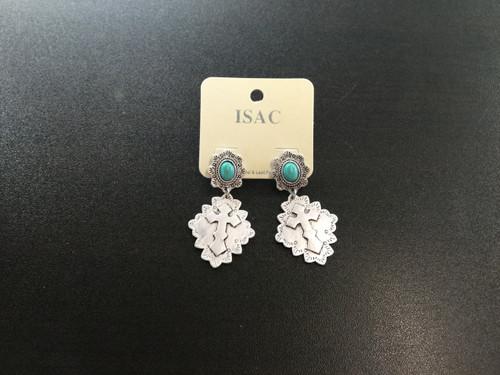 Silver &Turquoise Dangle Cross Earrings