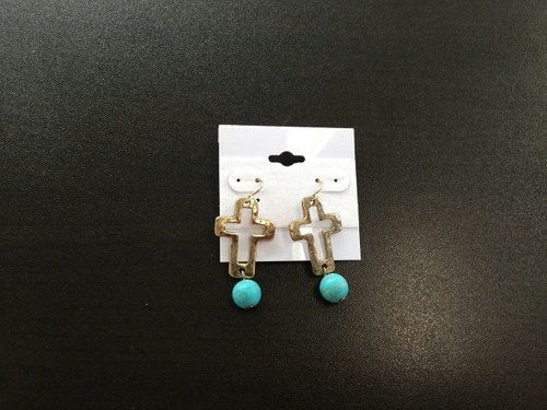 Etched Gold/Turqouise Cross Earrings