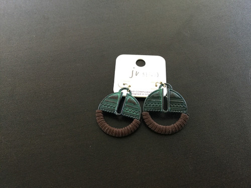Round Teal Etched Earrings