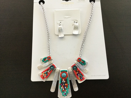 Silver & Multicolor Beaded Necklace Set