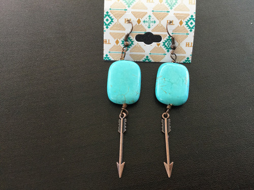 Turquoise & Arrow Dangle Earrings