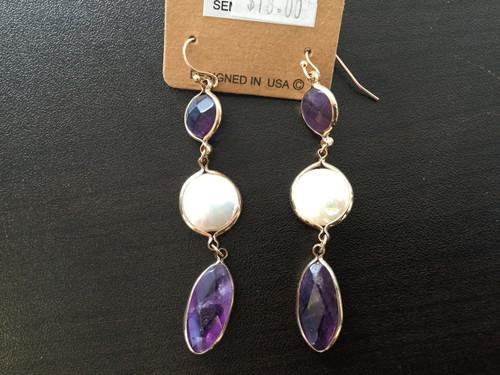 Purple & Pearl Dangle Earrings