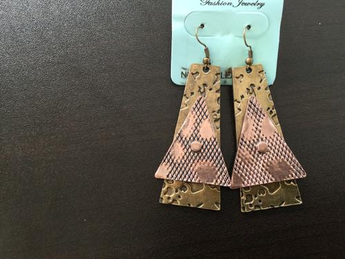 Copper Triangle Drop Earrings