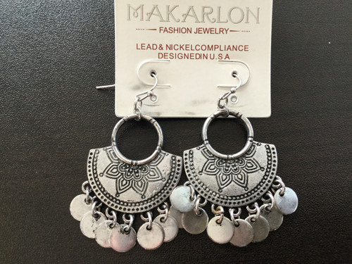 Silver Engraved Drop Earrings