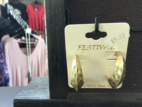 Gold Hammered Half Hoop Earrings