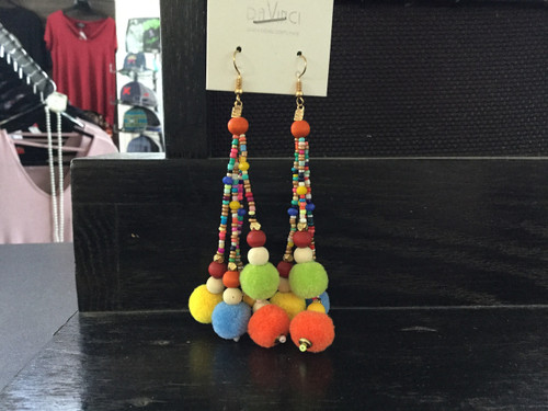 Funky Pom Pom Earrings