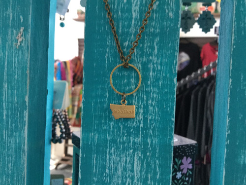 Tiny Mt. Necklace With Dangle Circle/Brass