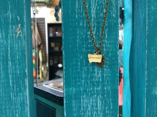 Tiny Mt. Necklace With Pinecone/Brass