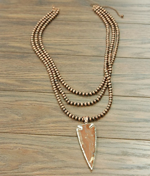 Copper Pearl Necklace with Jade Pendant
