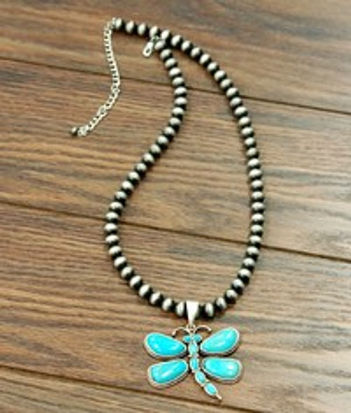 Natural Turquoise Dragonfly Necklace