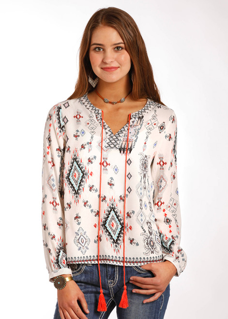 Panhandle White Aztec Top