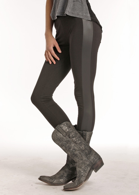 Rock & Roll Cowgirl Tuxedo Leggings with Pleather