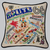 20x20 Hand Embroidered Retro Pillow Route 66