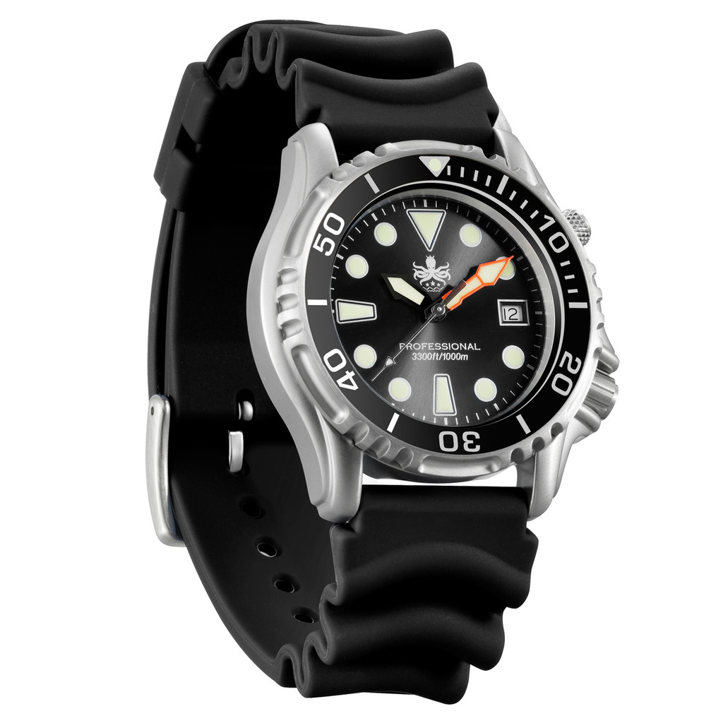 PHOIBOS Men's PX005C 1000M Dive Watch Black Sport Watch