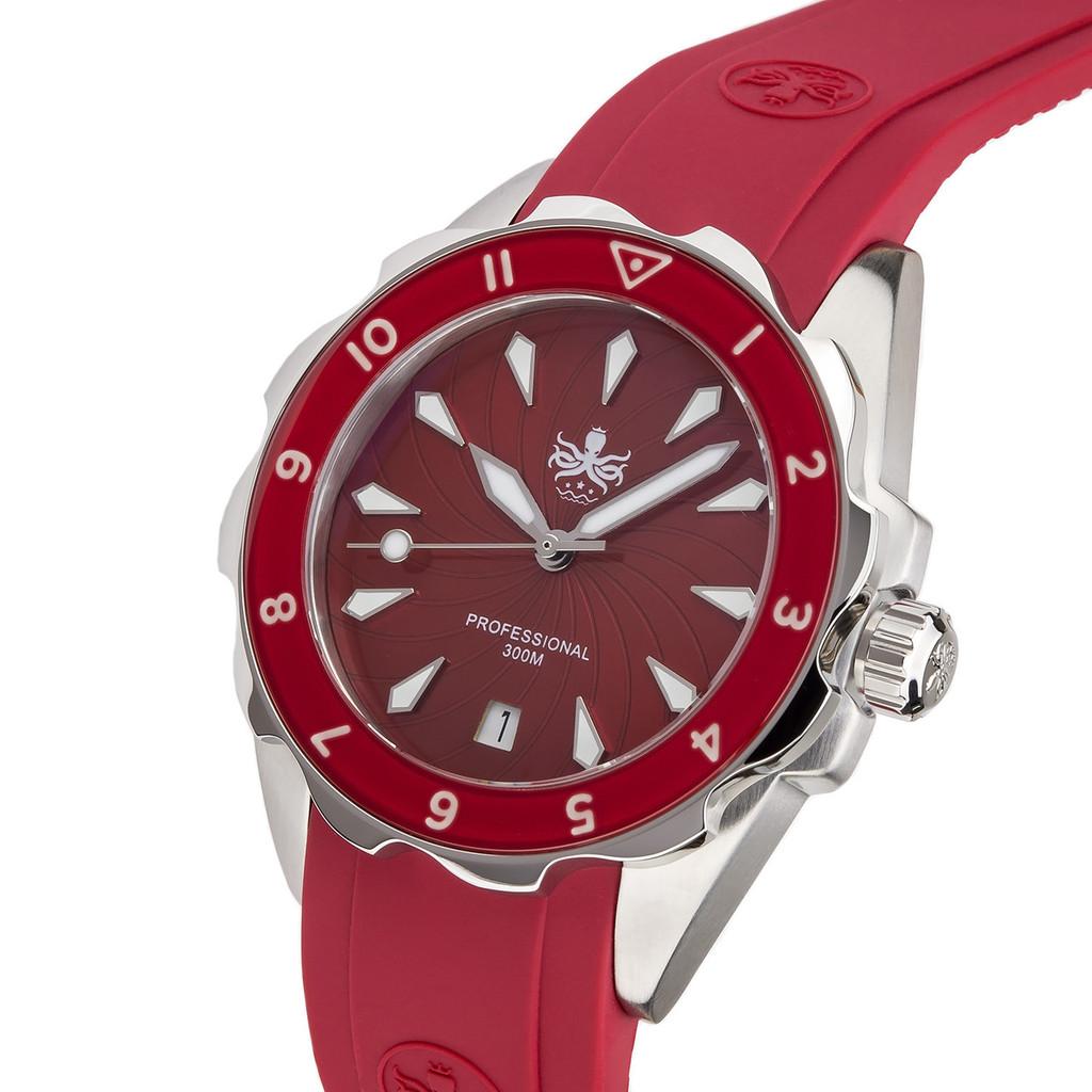 PHOIBOS SEA NYMPH 300M Lady Diver Watch PX021E Red