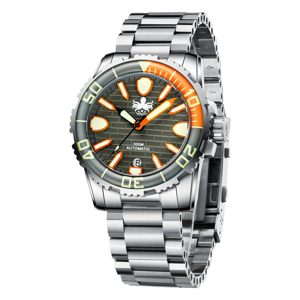 PHOIBOS GREAT WALL 500M Automatic Diver Watch PY022D Grey-Orange